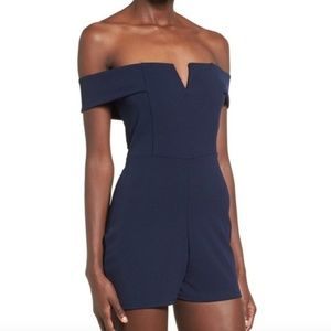 Misguided Navy Off the Shoulder Romper